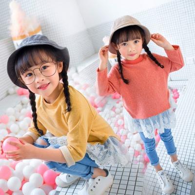 女童春装新款上衣打底衫T恤纯色韩版宝宝娃娃衫春秋薄款内穿外搭
