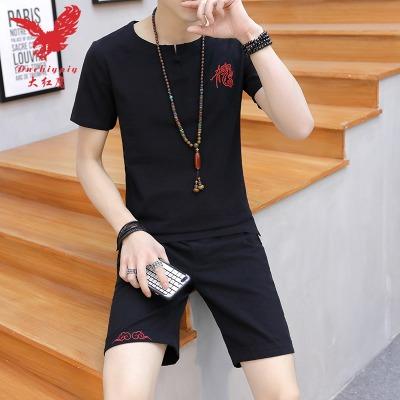 【大红鹰男装】中国风棉麻t恤短袖套装夏修身大码男装休闲短裤T恤
