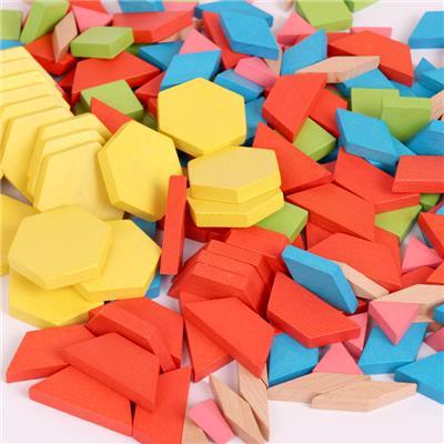 木质七巧板智力拼图益智玩具2-3-5-6-8岁男女孩儿童积木早教拼板