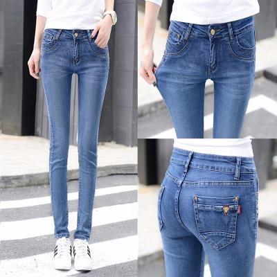 高腰牛仔裤女2020春季新款韩版弹力修身收腹显瘦小脚铅笔牛仔长裤