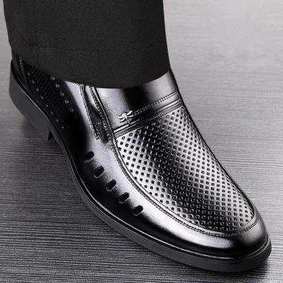 男士夏季镂空皮鞋凉鞋男商务正装透气凉皮鞋休闲洞洞鞋爸爸凉鞋子