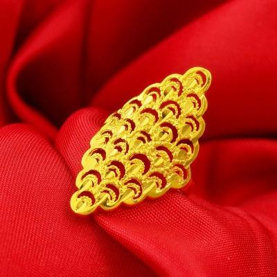 越南沙金饰品不褪色开口可调节镂空凤尾镀金戒指女黄金色戒指指环