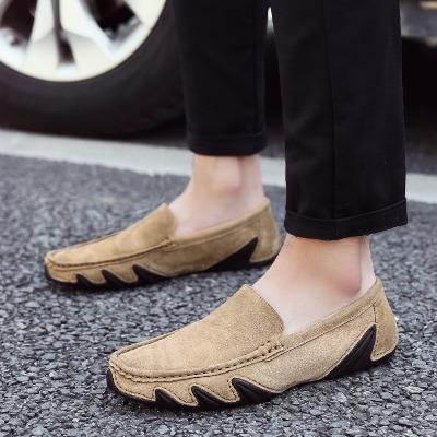 休闲皮鞋男豆豆鞋真皮夏季韩版潮流驾车鞋男士青年大码懒人男鞋子