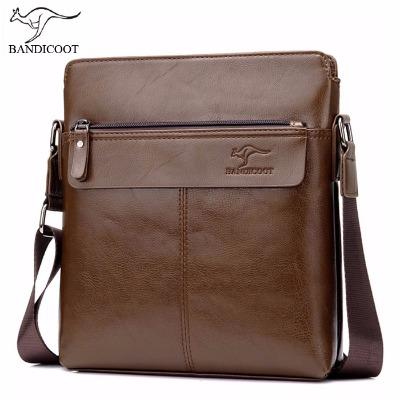 袋鼠男包单肩包斜挎包男士皮包商务休闲包包潮流竖款背包男公文包