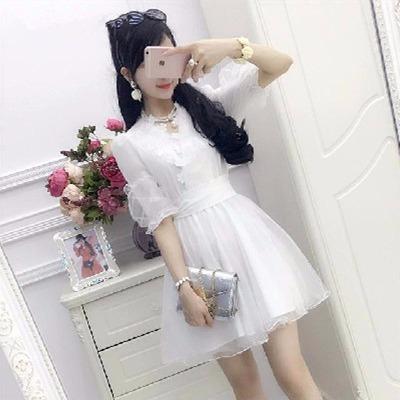 夏新款白色网纱蕾丝绣花韩版雪纺修身仙女清新优雅连衣裙蓬蓬裙女