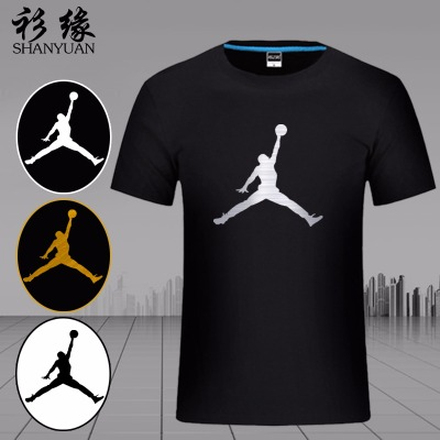 NBA乔丹T恤飞人AJ公牛23号球衣篮球运动夏季纯棉宽松烫金印花短袖