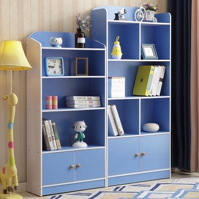 儿童书架学生书柜组合简易书架落地置物架书橱现代收纳储物柜带门