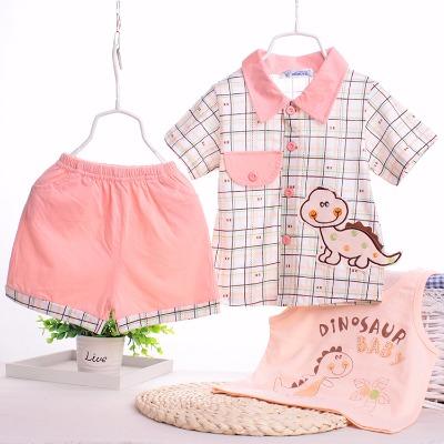 儿童夏装女童套装婴儿纯棉短袖衬衫男女宝宝无袖t恤短裤【三件套