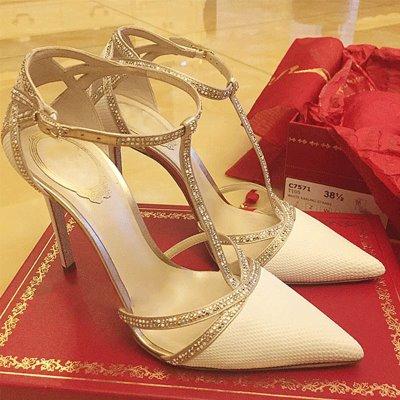 性感尖头白单鞋钉超尖头拼接侧空单鞋女白色高跟鞋小清新礼仪尖头